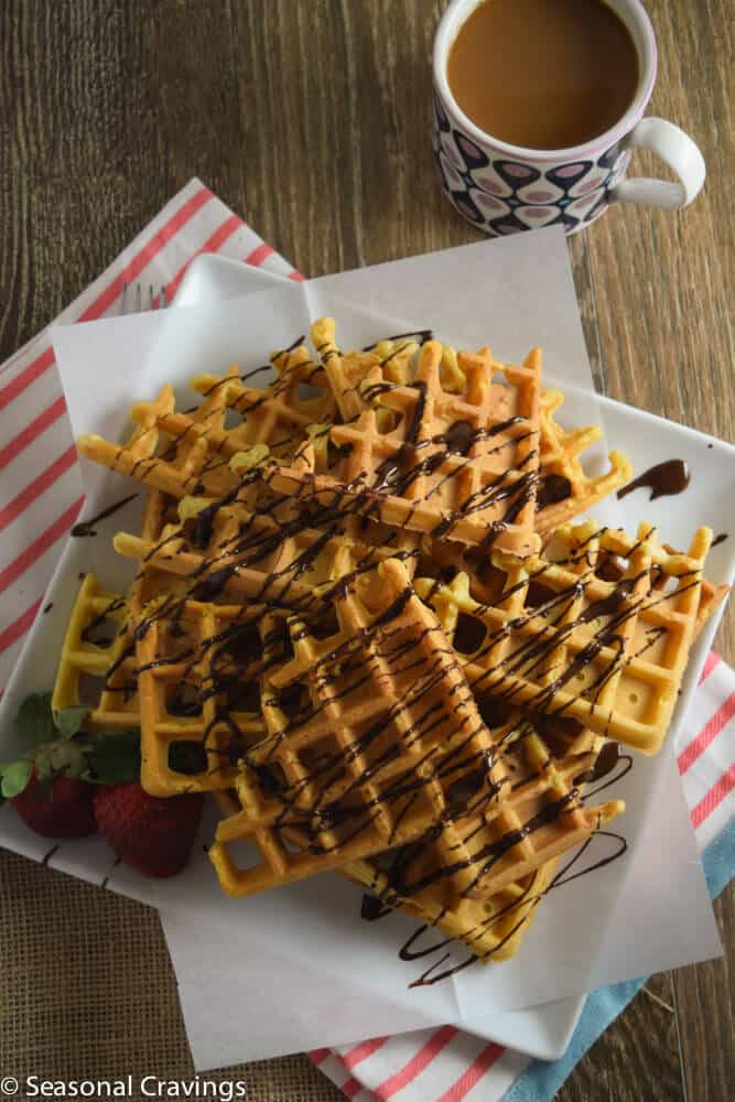 Easy Gluten Free Waffles with coffee on the side